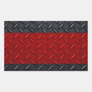 Firefighter Thin Red Line Diamond Plate Rectangular Sticker