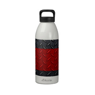 Firefighter Thin Red Line Diamond Plate Reusable Water Bottles