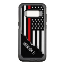 Firefighter Thin Red Line Flag Custom Name OtterBox Commuter Samsung Galaxy S8 Case