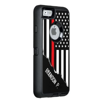 Firefighter Thin Red Line Flag Custom Name Otterbox Defender Iphone Case by colorjungle at Zazzle