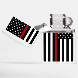Firefighter Thin Red Line Zippo Chrome Lighter