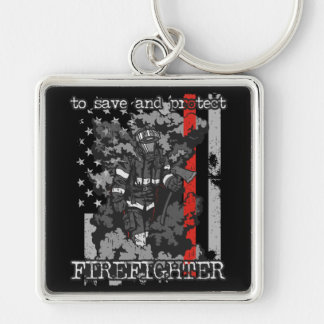 Firefighter To Save and Protect Keychain