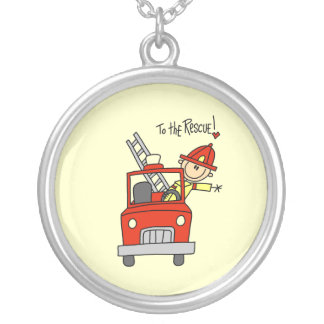 Firefighter to the Rescue T-shirts and Gifts Round Pendant Necklace