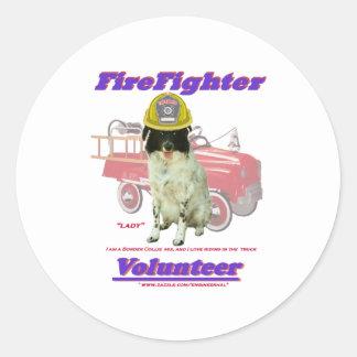FireFighter Volunteer Lady Classic Round Sticker
