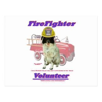 FireFighter Volunteer Lady Postcard