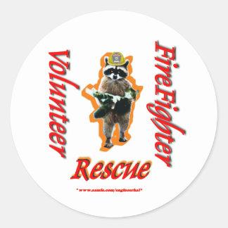 Firefighter Volunteer Raccoon Rescue Classic Round Sticker
