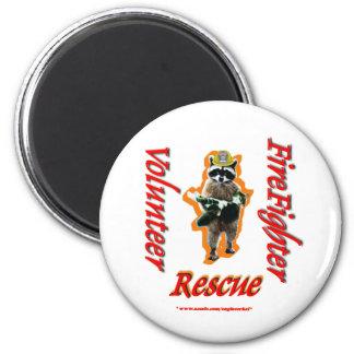 Firefighter Volunteer Raccoon Rescue Fridge Magnets