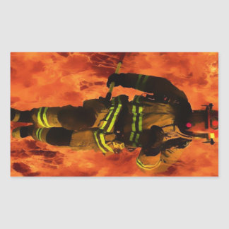 Firefighter VS Flames Rectangular Sticker