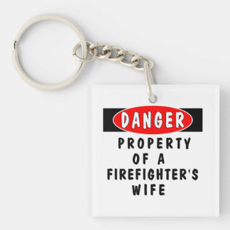 Firefighter Wife Double-Sided Square Acrylic Keychain