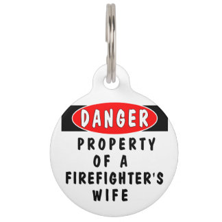 Firefighter Wife Pet Name Tag