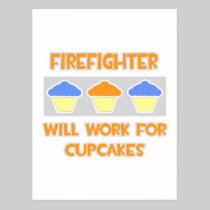 Firefighter ... Will Work For Cupcakes Post Card