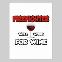 Firefighter ... Will Work For Wine Postcard