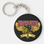 Firefighter Wings Basic Round Button Keychain