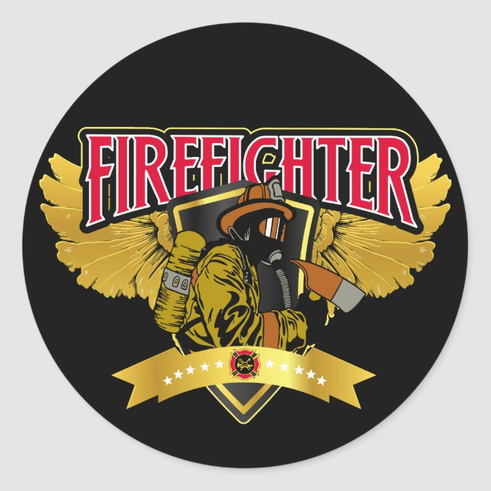 Firefighter Wings Classic Round Sticker