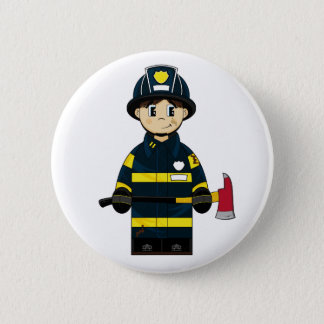 Firefighter with Axe Badge Pinback Button