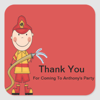 Firefighter with Hose Thank You Sticker