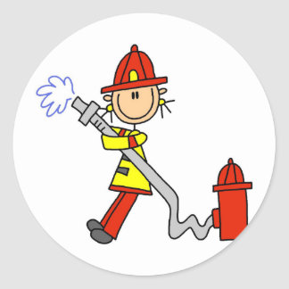Firefighter with Hose Tshirts and Gifts Classic Round Sticker