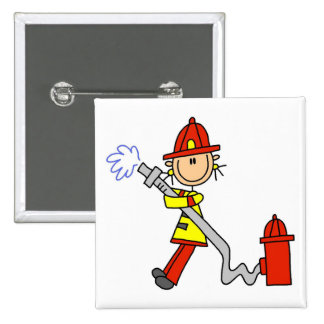 Firefighter with Hose Tshirts and Gifts Pinback Button