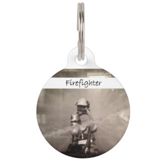 Firefighter Working Pet Name Tag