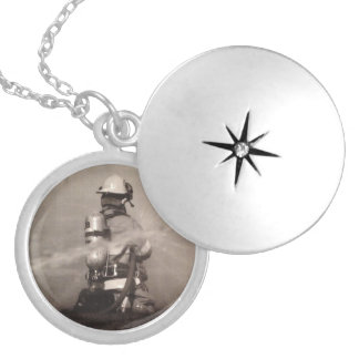 Firefighter Working Silver Plated Necklace