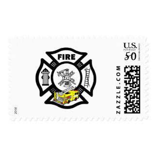 Firefighter Yellow Fire Truck Rescue Postage