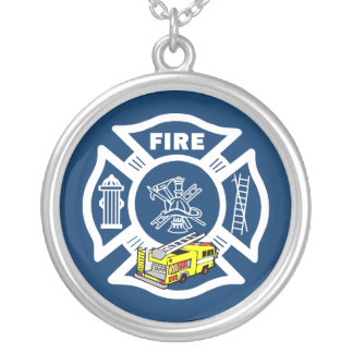Firefighter Yellow Fire Truck Rescue Silver Plated Necklace