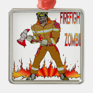 Firefighter Zombie Metal Ornament