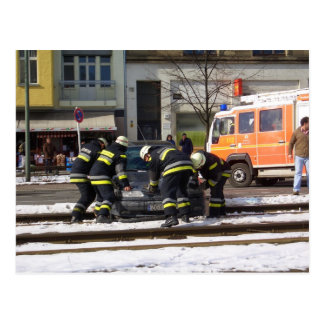 firefighters busy in Berlin Postcard