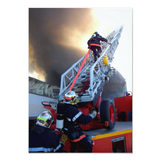 Firefighters Climbing Ladder 5x7 Paper Invitation Card