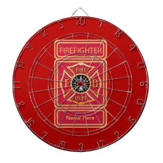 Firefighter's Custom Maltese Cross Logo Dartboard With Darts