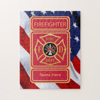 Firefighter's Custom Maltese Cross Logo Jigsaw Puzzle