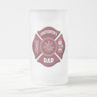 firefighter's dad frosted glass beer mug