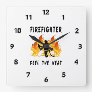 Firefighters Feel The Heat Square Wall Clock