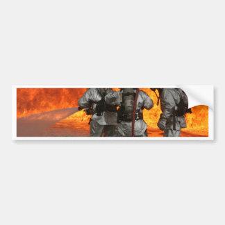 Firefighters fighting a fire bumper sticker