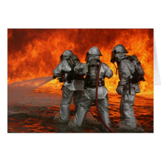 Firefighters fighting a fire card
