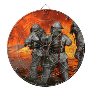 Firefighters fighting a fire dartboards