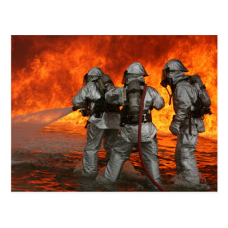 Firefighters fighting a fire postcard