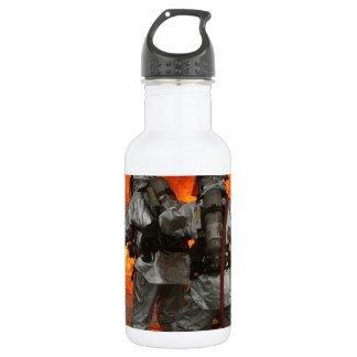 Firefighters fighting a fire stainless steel water bottle