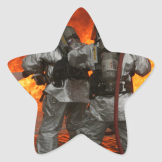 Firefighters fighting a fire star sticker