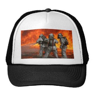 Firefighters fighting a fire trucker hat