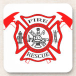 Firefighters Fire Dept logo Gifts Beverage Coaster