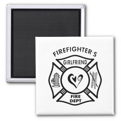 Firefighter's Girlfriend 2 Inch Square Magnet