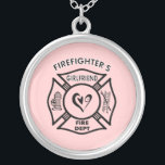 """Firefighter&#39;s Girlfriend Silver Plated Necklace<br><div class=""""desc"""">A firefighter&#39;s girlfriend loves their firemen and our firefighting logo is filled with fire dept themes.</div>"""