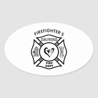 Firefighters Girlfriends Oval Sticker