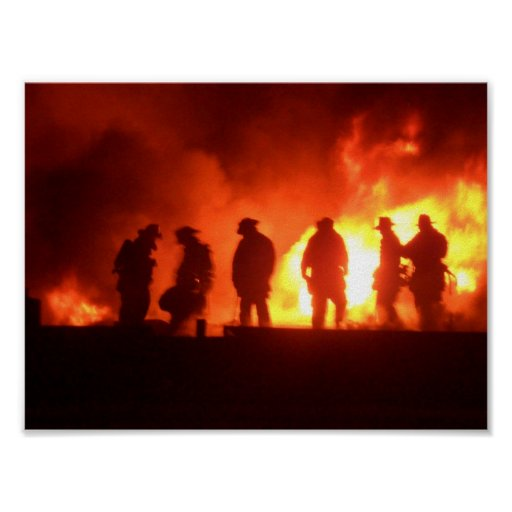 firefighters in action print