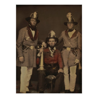 Firefighters in Uniform 1855 Poster