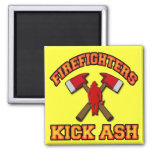 FIREFIGHTERS KICK ASH 2 INCH SQUARE MAGNET