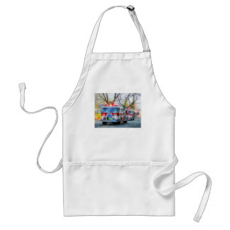 Firefighters - Line of Fire Engines in Parade Adult Apron