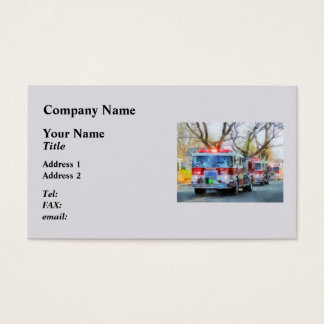 Firefighters - Line of Fire Engines in Parade Business Card