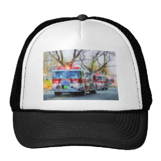 Firefighters - Line of Fire Engines in Parade Mesh Hats